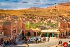 Boumalne Dades, Marokko - Oktober 31, 2016: Straat Boumalne Dade Royalty-vrije Stock Afbeelding