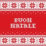 Boun Natale - glad jul i italienskt traditionellt sömlöst vektormodell- eller hälsningkort - skandinavisk knnitting, kors-stit Arkivfoto