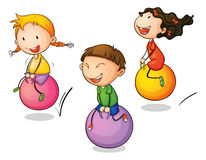 Bounce. Illustration of three bouncing kids Royalty Free Stock Image