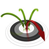 Bounce rate. Three green arrow reaching the center of a target and one bouncing out of the center, symbol of bounce rate Stock Photo