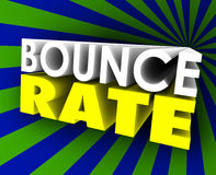 Bounce Rate 3d Words Visitor Audience Retention Internet Web Sit. Bounce Rate 3d words to illustrate viewer, visitor or audience retention on a website or Royalty Free Stock Photo