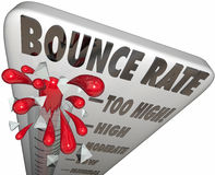 Bounce Rate Words Thermometer Measure Online Visitor Abandon Level. Bounce Rate words on a thermometer or gauge measuring the rate of abandonment as visitors or royalty free illustration