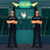 Bouncers standing near entrance to the night club Royalty Free Stock Photos