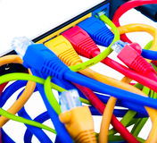 Bounch of cables. Bunch of different color connecting cables Royalty Free Stock Photo