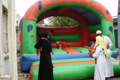 Bouncing catsles Muslim celebration. Bouncing castles for children in an event celebrated by Muslims Stock Images