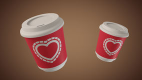 Bouncing coffee cups with Hearts Royalty Free Stock Image