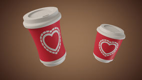 Bouncing coffee cups with Hearts Royalty Free Stock Photo