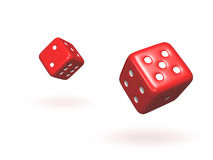 Bouncing Dice. Isolated pair of red dice with soft shadows Stock Photos