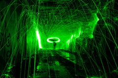 Bouncing Green Sparks. In old train tunnel Royalty Free Stock Photography