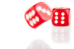 Bouncing Red Dice Stock Images