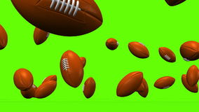Bouncing Rugby Balls On Green Background royalty free illustration