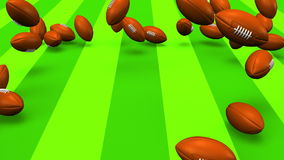 Bouncing Rugby Balls On Rugby Field vector illustration