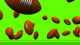 Bouncing Rugby Balls On Rugby Field stock illustration