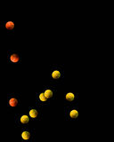 Bouncing Tennis Balls. Multiple yellow and orange tennis balls bouncing on a black background Royalty Free Stock Images