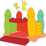 Bouncy castle. Illustration of kids jumping, having fun on bouncy castle Royalty Free Stock Image
