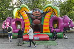 Bouncy Castle. A children's favourite - the bouncy jumping  castle on the square in Krakow Royalty Free Stock Photo