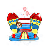 Bouncy castle - childrens entertainment. Illustration stock illustration