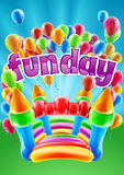 Bouncy Castle Funday Design Royalty Free Stock Photos
