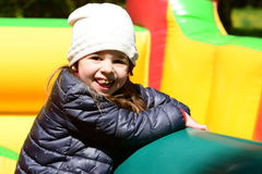 Bouncy castle joy royalty free stock images