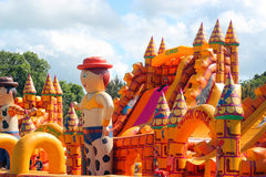 Bouncy or inflatable castle. Royalty Free Stock Images