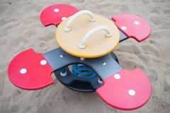 Bouncy playground furniture for kids at a park stock photography