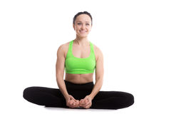 Bound angle yoga pose Stock Photo