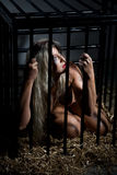 Bound art with beautiful nude slave girl in cage Stock Images