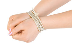 Bound hands. Isolated on white background stock photos