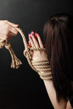 Bound hands. Of beauty girl on black stock photography
