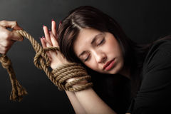 Bound hands. Beauty girl with bound hands stock photography