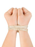 Bound hands. Isolated on white background royalty free stock photos