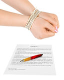 Bound hands and contract royalty free stock images