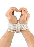Bound hands and heart. Isolated on white background royalty free stock photos