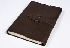 Bound Leather Journal Book Closed  on White Perspective Royalty Free Stock Photo