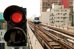 In-bound sky train's traffic light Stock Images