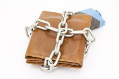 Bound Wallet. Wallet tied with string so that money does not leak Stock Photography