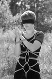 Bound woman. With his hands tied and blindfolded. Shibari stock photography