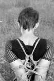 Bound woman. Shoulders, tied in shibari style stock images