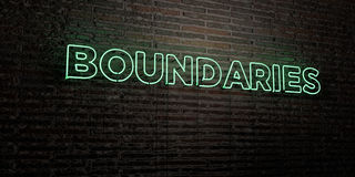 BOUNDARIES -Realistic Neon Sign on Brick Wall background - 3D rendered royalty free stock image Royalty Free Stock Photography