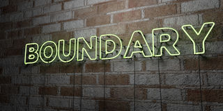 BOUNDARY - Glowing Neon Sign on stonework wall - 3D rendered royalty free stock illustration. Can be used for online banner ads and direct mailers Royalty Free Stock Image