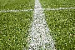 Boundary lines. On a soccer field royalty free stock image