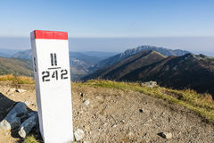 Boundary marker (border stone). Royalty Free Stock Image