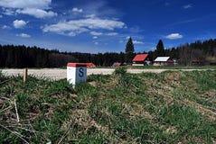 Boundary marker near Konecna settlement in Moravskoslezske Beskydy Royalty Free Stock Image