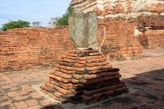 Boundary Marker of Wat Worachet Temple ,The Ancient Siam Civilization of Ayutthaya Thailand Stock Photo