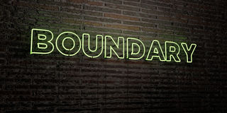 BOUNDARY -Realistic Neon Sign on Brick Wall background - 3D rendered royalty free stock image. Can be used for online banner ads and direct mailers Royalty Free Stock Images