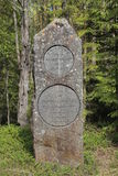Boundary stone between the historic Swedish provinces Aangermanland and Jemtland Royalty Free Stock Photography