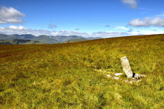 Boundary stone marker. Old boundary stone on Loadpot Hill Stock Photo