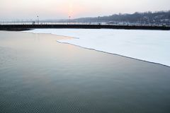 Sea and ice in winter and cold time. Royalty Free Stock Photos