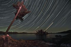 Boundary waters star trail Stock Photography