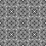 Boundered花设计在黑n白色的无缝的样式背景例证 向量例证